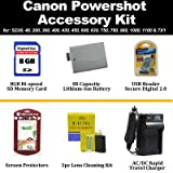 Accessory Kit For Canon PowerShot SD960 SD940 SD780 SD1400 SD1100 SD1000 SD750 SD630 SD600 SD450 SD400 SD300 SD200 Digital Camera Includes 8GB SD High Speed (SDHC) Card + NB-4L Extended Replacement Battery + Card Reader + LCD Screen Protectors