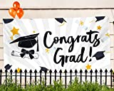 "Graduation Party Banner – Extra Large 71"" x 40"" - 2018 Congrats Grad Decorations & Supplies - Graduate Cap Design"