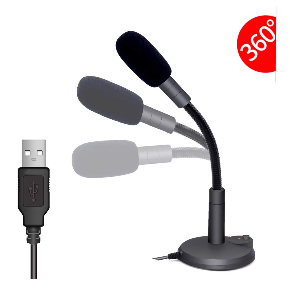 USB Microphone, Plug &Play PC Microphone with LED Indicator, Omnidirectional Condenser Microphone with Mute Button, Computer Microphone for Computer/Laptop /Desktop/Windows/Mac, Ideal for Youtube, Sk