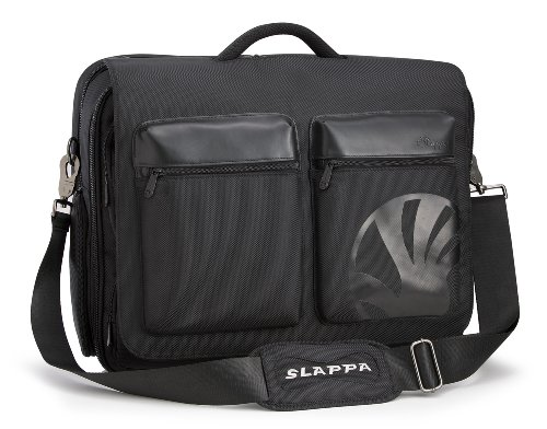 Slappa Kiken 16-Inch 2 Pocket Custom Build Laptop Shoulder Bag, Black (SL-SB-104-16-05) by Slappa
