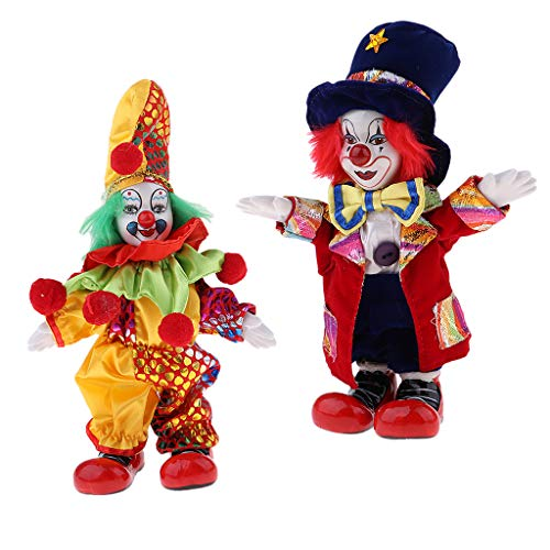 SM SunniMix 2 Pieces 7inch Vintage Ceramic Clown Standing Doll Figure Jester Adults Collectible