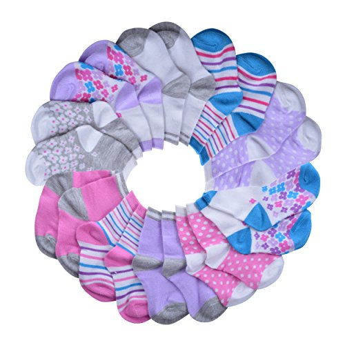 Barehugs Infant Girls Crew Print Socks - 10 Pack - Gray Fuchsia White Purple Turquoise Pink - 6 - 12 Months