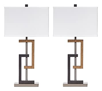 Ashley Furniture Signature Design   Syler Faux Wood Table Lamp    Contemporary Rectangular Shades   Set