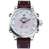 Men's Sport Watch Quartz Japan Movement Wristwatch,Calendar Month Date Day, Back Light, 2 Timezone, Alarm