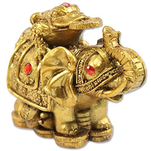 feng shui 3 gold money frog on elephant figurine wealth figurine gift home decor feng shui. Black Bedroom Furniture Sets. Home Design Ideas