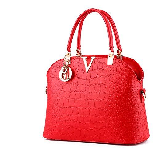 (G-AVERIL) Borsa A Tracolla Borse Donna Borsa Sacchetto In Pelle Cartella Sacchetti Rosso1