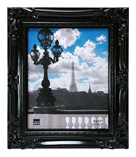 Kiera Grace Virginia Ornate Picture Frame, 8 by 10-Inch, Black