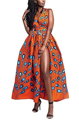 FEIYOUNG Women's Sexy Dashiki Floral Printed Side Slit Long Maxi Dresses Bohemian High Waist Vestidos Orange (Best African Attire Dresses)