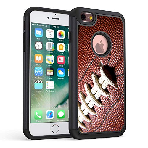 (iPhone 6S Case,iPhone 6 Case,Rossy Heavy Duty Hybrid TPU Plastic Dual Layer Armor Defender Protection Case Cover for Apple iPhone 6/6s 4.7 inch,Ball Sports Football)