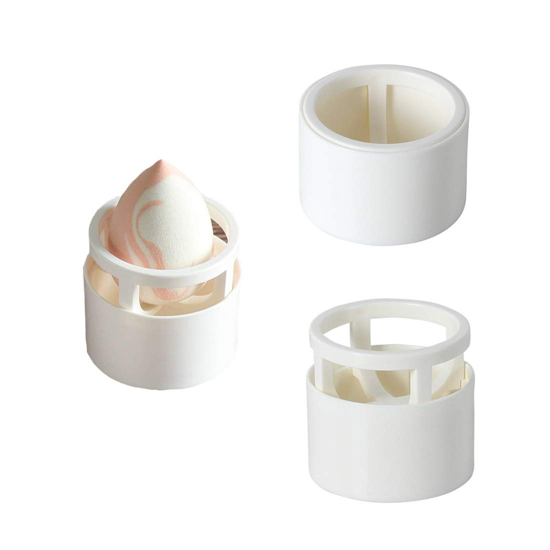 GBSTORE Beauty Sponge Blender Holders,Makeup Sponge Holder Drying Rack Egg Powder Puff Display Stand,hasThree different display way(Milky White)