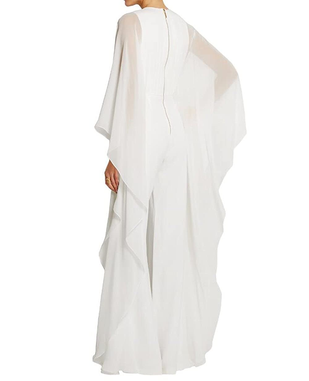 fd32a563e25c YYF Womens Long Bat Sleeve Rompers Long Wide Leg Chiffon Evening Jumpsuit   Amazon.co.uk  Clothing