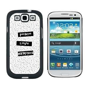 Peace Love Harmonica - Snap On Hard Protective Case for Samsung Galaxy S3 - Black