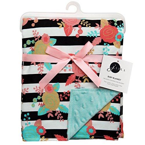 JLIKA Baby Blanket for Girls Swaddle Newborn Receiving Blankets - Aqua Floral (30