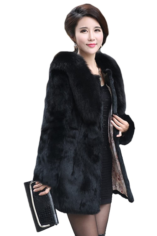 queenshiny Damen 100% Echte Kaninchen Pelz Lang Mantel Jacke Mit Fuchs Pelz Kragen Winter