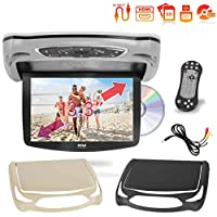 Car Roof Mount DVD Player Monitor 13.3 inch Vehicle Flip Down Overhead Screen- HDMI SD USB Card Input with Built-in IR Transmitter for Wireless IR Headphone, 3 Style Colors – Pyle PLRD146