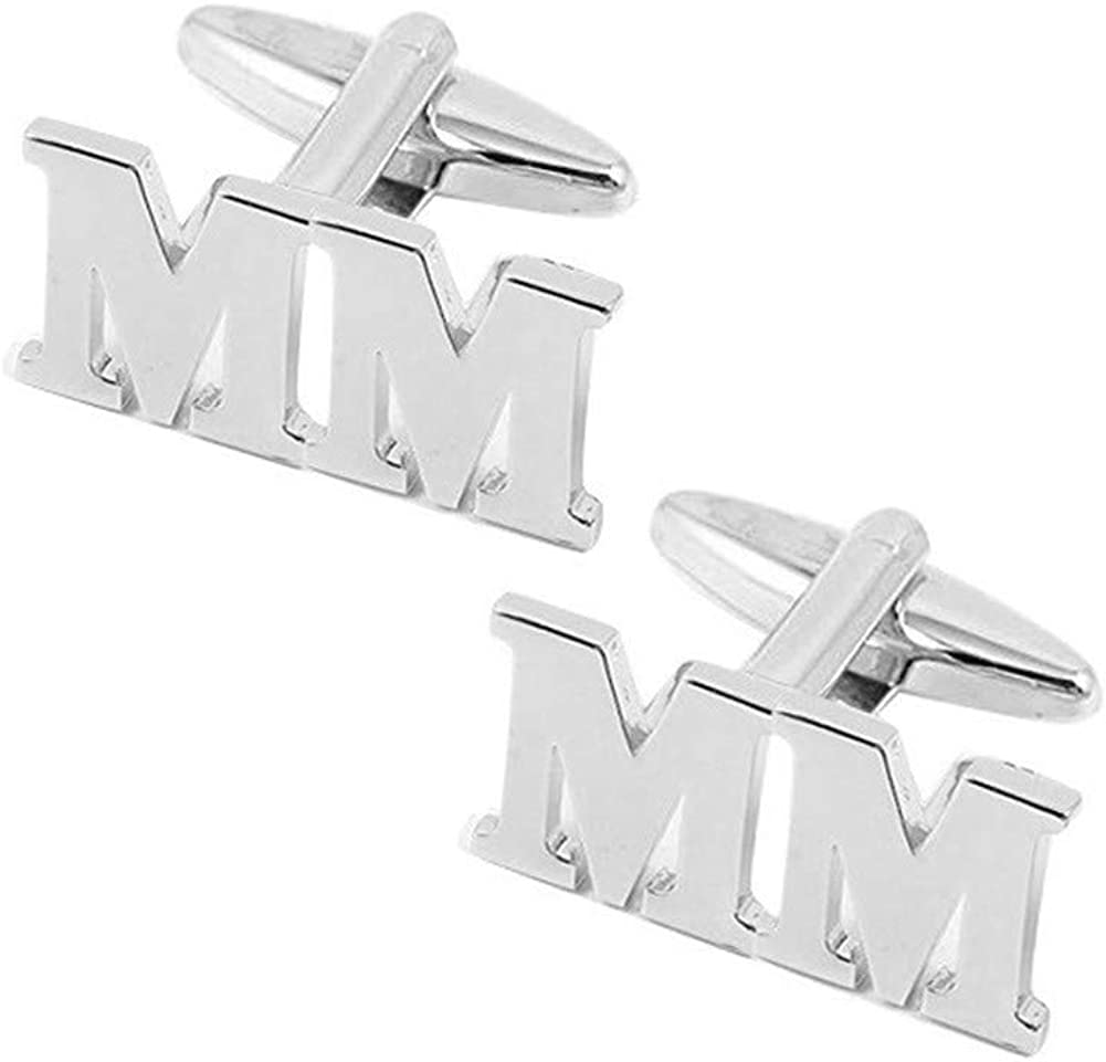 Personalized Initial Cufflinks for Men 925 Sterling Silver Custom with 2 Initials