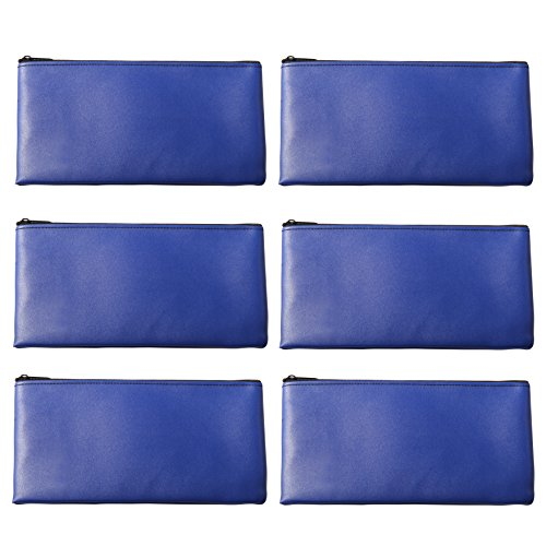 LUNASMILE Leatherette Securit Bank Deposit Bag/Check Wallet/Utility Zipper Coin Bag, 11 x 6 Inches Check Bag (Blue)