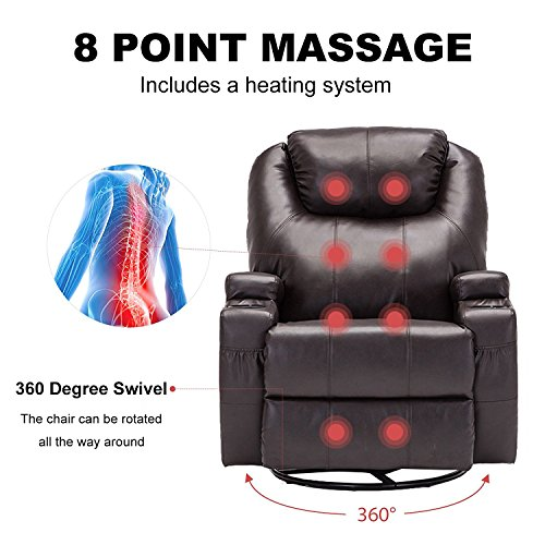Windaze Massage Recliner Chair, 360 Degree Swivel Heated Recliner Bonded  Leather Sofa Chair With 8