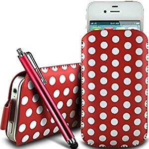 Direct-2-Your-Door - Nokia Lumia 530 de protección pu Polka de cuero con cremallera diseño antideslizante de cordón en la bolsa del caso con cierre rápido y grande Stylus Pen - Rojo