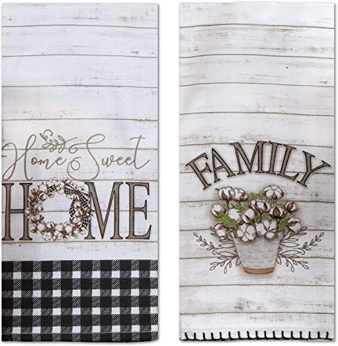 Home Sweet Home Kitchen Terry Towel and Tea Towel 2-pc Set Farmhouse Family