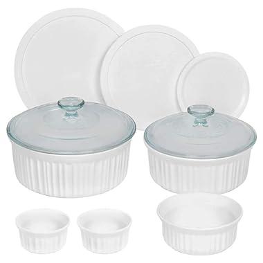 French White Round Bakeware Set (10-Piece, White)