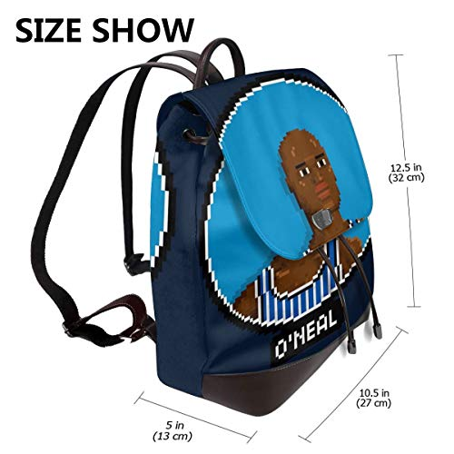 Shaquille O Neal Profile Pixel Fashion Design Leather Backpack For Women Men College School Bookbag Weekend Travel Daypack (Best Dating Profile Descriptions)