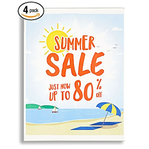 """(Acrylic Wall Mount Sign Holders [4 pack], 8.5 x 11"""" Acrylic Frames. Easy Mounting With Hook and Loop Tape. Door, Window Sign Holder. Paper Signs, Flyers, Documents. Mount Vertical or Landscape.)"""