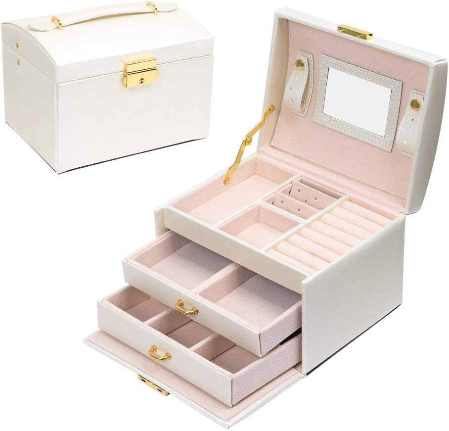 JOJJJOJ Jewellery Box Jewellery Oganiser Three Layers PU Leather Jewelry Storage Box with Mirror and Lock for Girls and Women's Gift (Color : White)