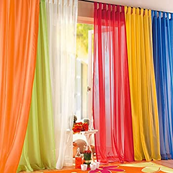 Amazon Com 6 Piece Rainbow Sheer Window Panel Curtain Set