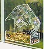 A TING Outdoor Acrylic Garden Window Birdfeeder with 3 Suction Cups,Dragonfly,Leaf