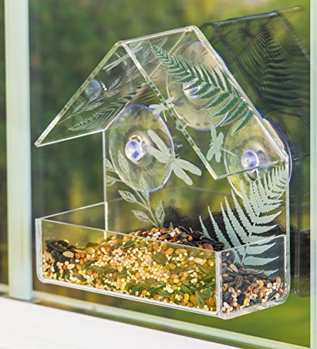 A TING Outdoor Acrylic Garden Window Birdfeeder with 3 Suction ()