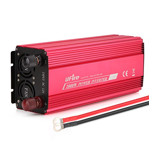 UFire 2000W Power Inverter DC 12V to 110V AC Car Converter with 2 AC Outlets 2A USB Car Adapter -Red by UFire (Image #7)