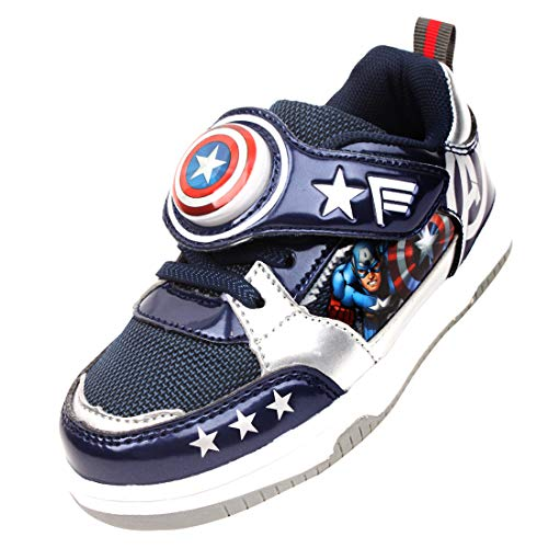 Joah Store Captain America Avengers Light Up Shoes for Boys Navy Silver Sneakers (Toddler/Little Kid) (11 M US Little Kid, Captain-America_A) -