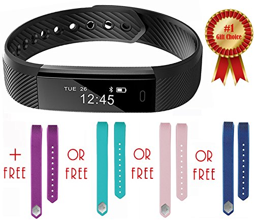Fitness Tracker Smart Watch for Kids, Ladies, Men, Best gift for fit family! FREE Extra Teal Band, Step, Calorie Counter, Pedometer, Sleep Monitor, Waterproof, Activity Bracelet,!