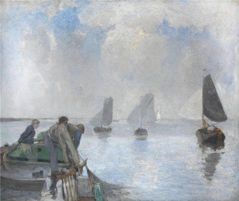 Perfect Effect Canvas ,the Beautiful Art Decorative Canvas Prints Of Oil Painting 'Richard Baseleer,Shrimpers On The Lower Scheldt,1867-1951', 20x24 Inch / 51x60 Cm Is Best For Living Room Decoration And Home Artwork And Gifts