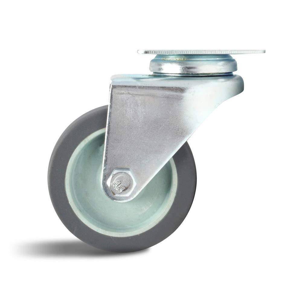 Mat/ériau TPR Fortes roulettes porteuses Capacit/é de Charge 110-120kg Rouleau /à Fond Plat pour Chariot Industriel HARDWARE roulettes de 75 mm /× 4 Roue Universelle Double Roue