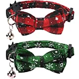 Lamphyface 2 Pack/Set Christmas Cat Collar Breakaway with Cute Bow Tie and Bell for Kitty Adjustable Safety Plaid