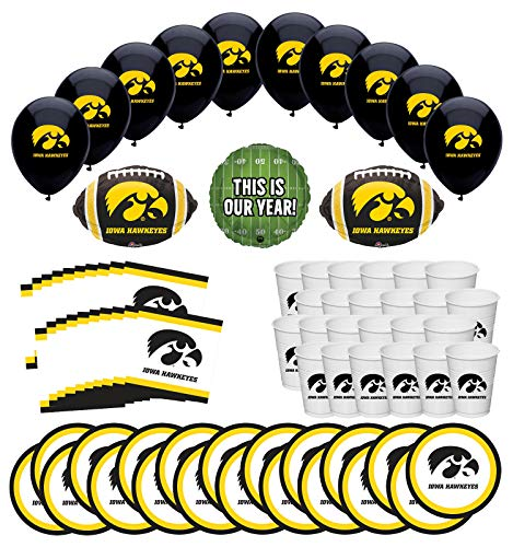 University Of Iowa Party (Mayflower Products University of Iowa Hawkeyes Football Tailgating Party Supplies for 20 Guest and Balloon Bouquet)