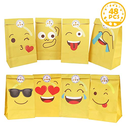 OurWarm 48Pcs Emoji Gift Bags for Kids, Emoji Party Favor Bags with Thank You Stickers for Kids Birthday Emoji Party Supplies and Decorations, 8 Styles Emoji Paper Bags]()