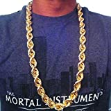 """TUOKAY 20mm Heavy Huge Gold Rope Chain Necklace for Rapper, Sparkling Big 18K Gold Rope Chain for Rap Gangsta, 24"""""""