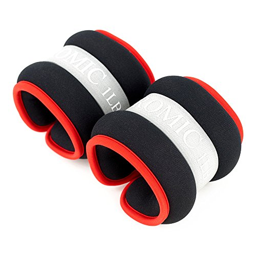 PROMIC Adjustable Ankle or Wrist Weights(1 Pair), Comfort Fit Weight Set for Exercise Fitness Gym Resistance Training ,Red&Grey(2lb, 4Ib, 7Ib, 10Ib)