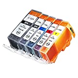 INKUTEN (TM) Compatible Ink Cartridge Replacement for Canon PGI-225 CLI-226 (1 Large Black, 1 Cyan, 1 Magenta, 1 Yellow, 1 Small Black) - 5 Pack