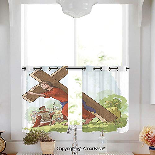 AmorFash Religious Printed Tier Curtains for Kitchen Pattern Short Window Curtains,2 Panels,W52 x L45-Inch,Cartoon Style Carrying The Cross Scenery Historical Figure Roman Soldier
