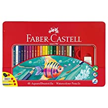 Faber Castell Aquarell Water color 48 Pencils+gift Brush,Graphite Sketch Pencil,Sharpener,Art Eraser + Epoxy Sticker