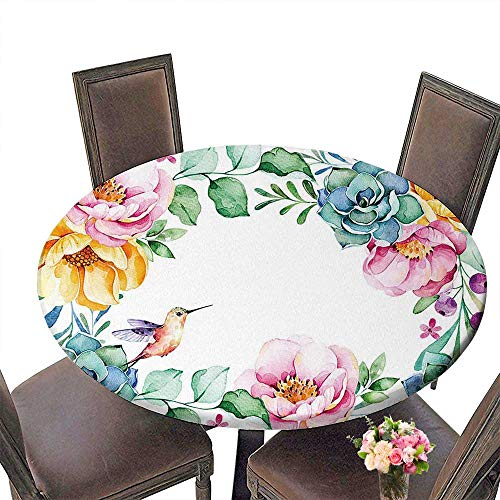 (PINAFORE Round Tablecloths Beautiful Watercolor Frame Border Roses Flower Foliage Succulent Plant Branches Dinner, Parties 50