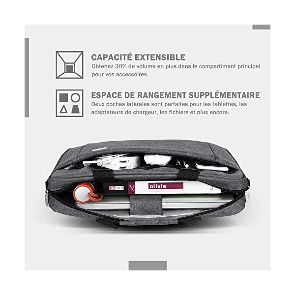 Voova Sacoche pour Ordinateur Portable 17 17.3 Pouces, Sac Pochette Messenger Capacité Extensible de 30%, Housse PC…