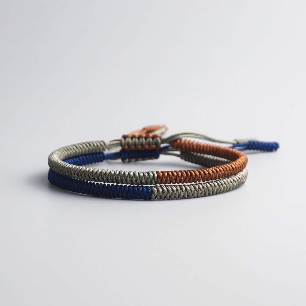 2 pi/èces EXINOX Bracelet tib/étain Couleur Marron et Gris Homme Femme