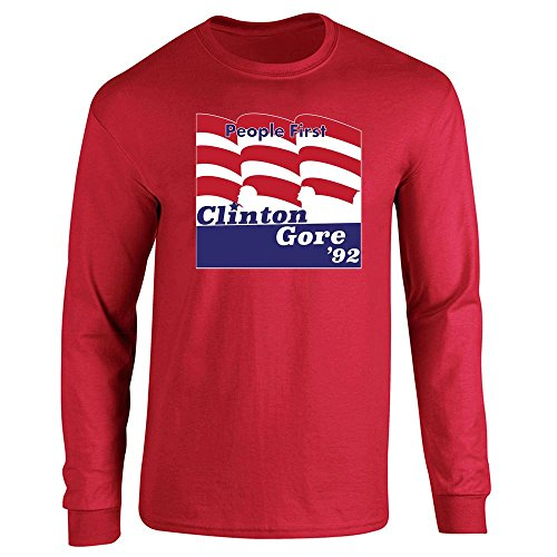 Pop Threads Bill Clinton Al Gore 1992 Presidential Campaign Red S Long Sleeve T-Shirt by