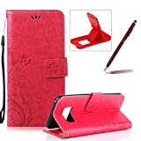 Wallet Leather Case for Galaxy A5 2017,Book Style Pu Leather Case for Galaxy A5 2017,Herzzer Retro Butterfly Flower Pattern Flip Fold Pouch Case with Card Holders Stand Magnetic Case