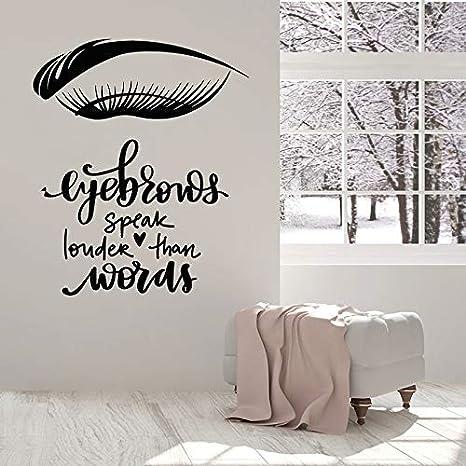 Calcomanía de pared de moda Pestaña Frases de cejas Arte Etiqueta de vinilo Salón de belleza Vestidor Chica Dormitorio Decoración interior Mural Peluquería Etiqueta de la pared Decoración